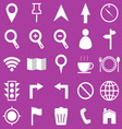 Map icons on purple background vector image