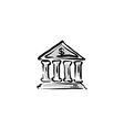 bank building icon hand drawn bank sign vector image