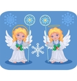 christmas cute angels set vector image