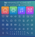 flat user interface line icons set vector image