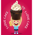 happy woman carrying big chocolate cupcake vector image