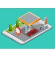 Mobile GPS navigation gas station concept View a vector image