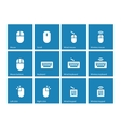 Mouse and keyboard icons on blue background vector image