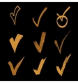 set of hand drawn check on black background vector image