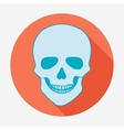 Single flat skull icon with long shadow vector image