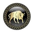 taurus zodiac sign in circle frame vector image