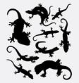 Lizard gecko reptile animal silhouette vector image