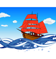 Sailboat With Scarlet Sail vector image