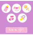 Baby girl shower card with bottle horse rattle vector image
