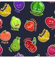 Seamless pattern with funny fruit characters vector image