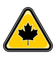 canada maple leaf sign triangular sticker vector image