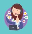 Customer support help desk operator service vector image