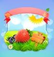 Juicy berries label design vector image