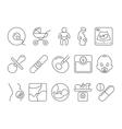 Medicine pregnancy motherhood line icons vector image