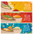 Set of banners for theme indian cuisine with vector image