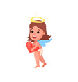 sweet little angel girl with wings holding red vector image