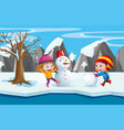 two kids playing with the snowman vector image