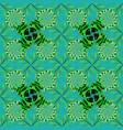 vintage flower design elements green blue and vector image