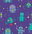 Seamless Robots pattern vector image vector image