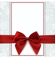 Blank greeting card with red bow and snow vector image vector image