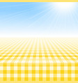 empty picnic table covered checkered tablecloth vector image