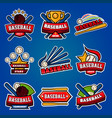 baseball logotypes with equipments poster on blue vector image