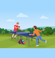 table tennis pingpong match on the nature the vector image