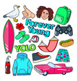 teenager lifestyle doodle with surf vector image vector image