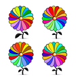 Abstract Retro Colorful Flowers Set vector image vector image