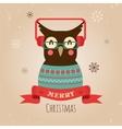 Owl Merry Christmas Card vector image