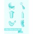Baby shower boy icons set design vector image