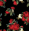 Abstract seamless floral pattern with red roses on vector image