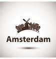 silhouette of Amsterdam City skyline vector image