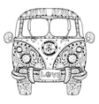 Hand drawn doodle outline retro bus travel vector image