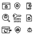 line computer virus icon set vector image