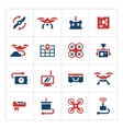 Set color icons of quadrocopter and drone vector image