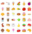 sweet food icons set cartoon style vector image