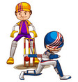 two cricket players playing on white background vector image
