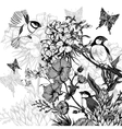 Vintage Monochrome Floral Greeting Card with Birds vector image