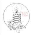 Hand drawn pattern with Christmas candle and vector image