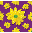 seamless pattern with yellow flowers on violet vector image
