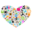 Set of icons in heart shape vector image vector image