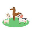 farm horse cow and goat grazing upon the green vector image