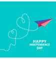 Paper plane with two hearts Dash line independence vector image