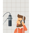 DJ working in a radio station vector image