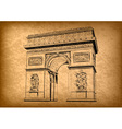 arch of triumph on the brown background vector image vector image