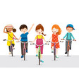 children riding bicycle together vector image