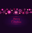merry christmas card with pink snowflakes vector image