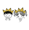 Prince and princess with crown on head for your vector image