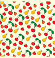 seamless pattern of fruit on yellow background vector image
